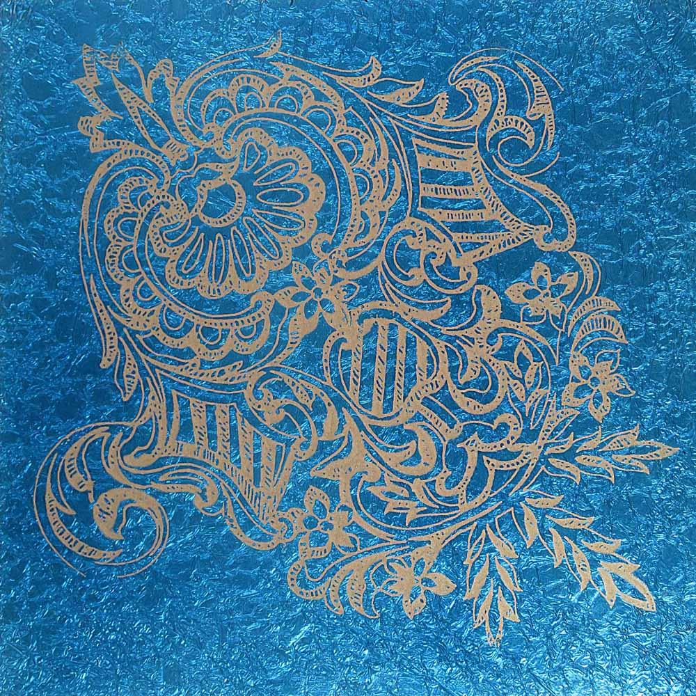 Blue crinkle shield