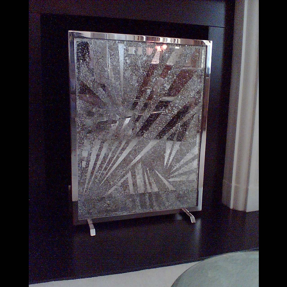 Eglomise Glass Fire Screen