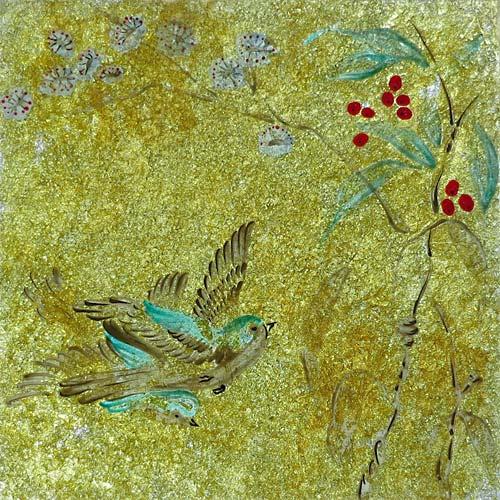 Gold & Blue Bird