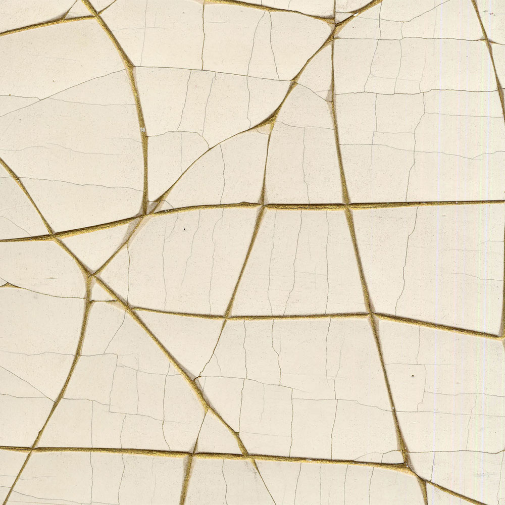 White and Gold Crackle Gesso