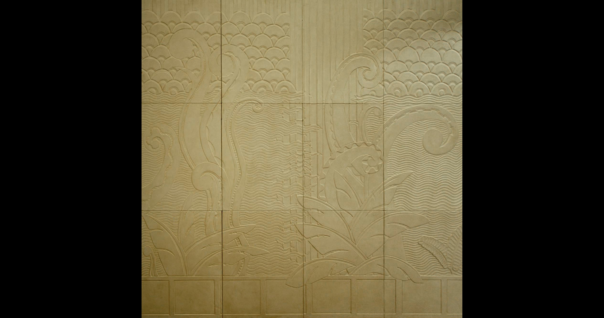 Embossed leather mural